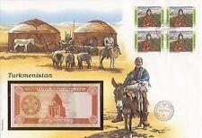 superbe enveloppe TURKMENISTAN billet de banque 1 M UNC NEUF + TIMBRES