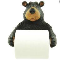 Black Bear Toilet Paper Holder Rustic Cabin Bear Figurine Resin