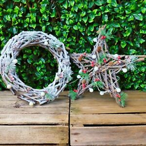 Frosted Snow Alpine Spruce Twig Wooden Wreath or Star Warm White Battery Lights