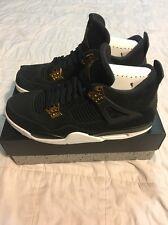"Air Jordan 4 Retro ""Royalty"" BLACK/METALLIC GOLD-WHITE 308497 032 Nike Size 10.5"