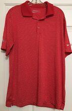 Men's Nike size L golf dri-fit  red white striped short sleeve shirt