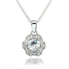 Sterling Silver Aquamarine & White Topaz Baguette & Round-Cut Fashion Necklace