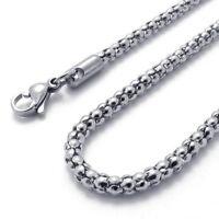 Schmuck Herren Kette, Edelstahl Panzerkette Halskette, Silber(Breite 3mm,Laen IS