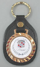 White ALLANTE Cadillac Crest Leather Goldtone Royal Classic Keyring 1992 1993