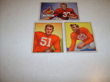 Chicago Cardinals 1950 (2) & 1951 (1) Bowman Football Trading Cards