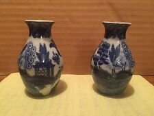 BLUE WILLOW VASE SALT  PEPPER SHAKERS
