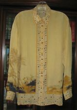 ESCADA RARE SILK BLOUSE TUNIC IN SAND IN ACIENT EGYPTIAN MOTIF 38 FITS14 GERMANY