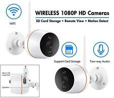 WIRELESS CCTV 2 X HD Camera KIT-TWO Way Audio-REMOTE Monitoring- SD Card Storage