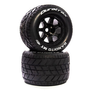 """Duratrax Bandito MT Belt 3.8"""" Mounted Front/Rear Tires .5 Offset 17mm Black 2"""