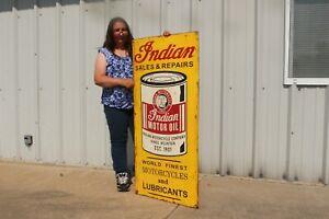 "Large Vintage Indian Motorcycle Motor Oil Sales & Service 48"" Metal Sign"