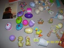 BIG LOT OF ASSORTED EASTER ITEMS, BUNNIES, EGGS, ORNAMENTS & FREE NECKLACE SET