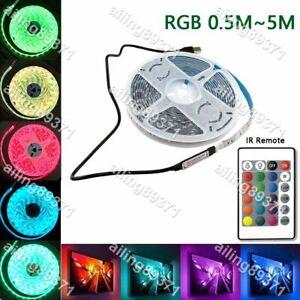 5V 5050 RGB LED Strip Light Bar TV Back Lighting Kit+USB Remote Control 60SMD/M