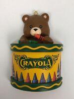 1992 CRAYOLA BEAR ON DRUM Christmas Ornament Decoration Plastic Binney & Smith