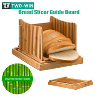 Natural Bamboo Bread Slicer Loaf Cutting Guide Board Adjustable & Foldable Tool