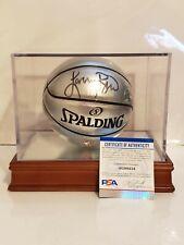 Larry Bird Signed NBA Silver Mini Basketball W/ Display Case Bird Holo & PSA COA