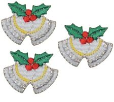Mini Christmas Bells and Holly Applique Patch (3-Pack, Small, Iron on)