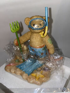 Cherished Teddies 864366 TROY With Snorkels & Crab From 2001 NEW IN BOX