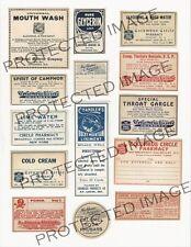 Vintage Drug Store Pharmacy Meds  Labels  FH421   Reproduction