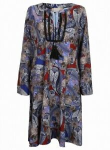 NEW Anthology BLUE MIX Paisley Print Tassel Tie Tunic Shift Dress Size 20