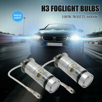 2x H3 100W High Power LED CREE HEADLIGHT FOG DRIVING LIGHT BULBS CAR GLOBE LAMP