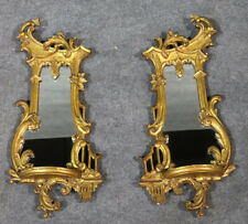 Pair MINT 1920s Carved Gilded Chinese Chippendale Mirrors Shelves VERY RARE