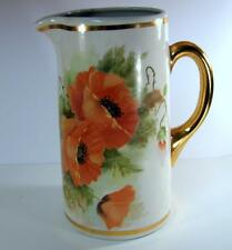 Antique Hand Painted Poppies Tankard Pitcher American Decorators Trenton N.J.