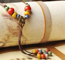 Grano de cerámica larga y Flor Collar de Moda con Cadena Ajustable delgada Trenza