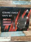 G2. mosto ceramic coated knife set black 16 piece stainless steel