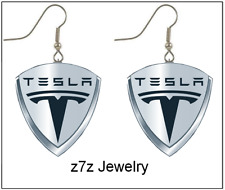 silver emblem women dangle jewelry z7qq Tesla Logo Earring Set - auto car