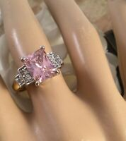 Vintage Jewellery Gold Ring with Pink and White Sapphires Antique Deco Jewelry