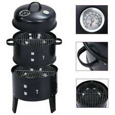 More details for vidaxl 3-in-1 charcoal smoker bbq grill outdoor barbecue freestanding grill