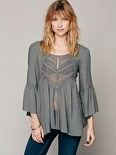 NWOT $168 Free People Sweet Emotion Bell Sleeve Swing Top Lace Mesh Gray S Rare