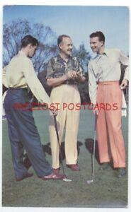 Men's GOLF PANTS GOLF-EZE SLAX - Great GOLFERS! 1951 Ad Postcard - Buffalo NY
