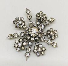 Vintage CORO Snowflake Rhinestones Brooch Pin Sparkle Signed