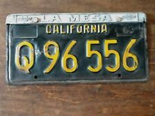 VINTAGE 1963 CALIFORNIA LICENSE PLATE WITH LA MESA CHEVROLET FRAME
