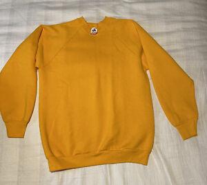 NWOT Vintage Fruit Of The Loom Sweatshirt L 80s Blank Plain Yellow
