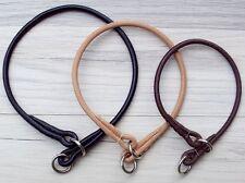 Premium Round Leather Dog Show Slip COLLAR - black brown or natural