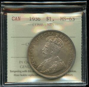 1936 Canada Silver Dollar - ICCS MS-63 - XLN135