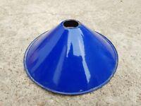 ANTIQUE MINIATURE IRON PORCELAIN ENAMEL COBALT BLUE LAMP SHADE- GOOD CONDITION