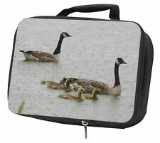 More details for geese+goslings in heavy rain black insulated school lunch box bag, ab-g5lbb