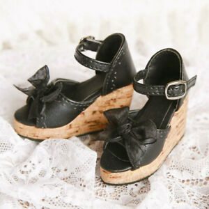 1/4 BJD Shoes Bow Deco Thick Sole Sandals Wedges High Heels for MSD Doll LUTS DZ