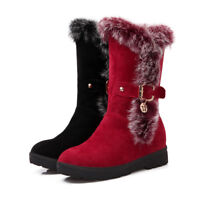 Women Chunky Heels Mid Calf Boots Platform Fur Trim Buckle Strap Pull On Shoes D