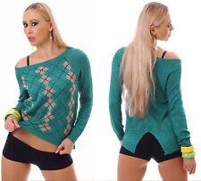 Pullover Sweater Langarm Rautenmuster Grün Gr. 38 40 M L Einheitsgröße Neu