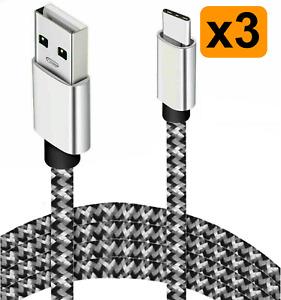 3x USB C Kabel SCHNELL Ladekabel USB Typ C für original Samsung Huawei Nylon