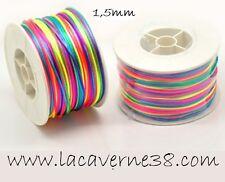 3 m cordon queue de rat satin multicolore fluo diam 1,5 fil nylon création perle