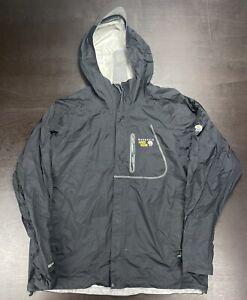 Mountain Hardwear Men's XL Hooded Rain Jacket Shell Black Medium Nylon -Flawed
