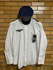 Men's Airline Pilot Halloween Costume Shirt, Epaulets, Hat, Sunglasses, & Patch