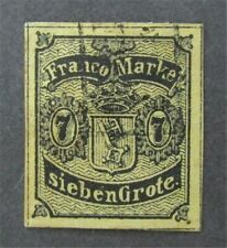 nystamps German States Bremen Stamp # 3 Used $725 Early Forgery ? As Is