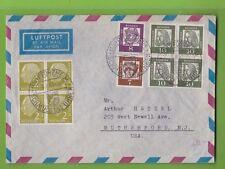 BUND - Michel Nr. 177 und 350 in 4er Block, 349, 348 auf Brief (B908)
