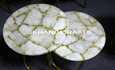 "Set Of 2 Pcs 24"" Marble Coffee Side Table Top Agate Stone Inlay Christmas Gifts"